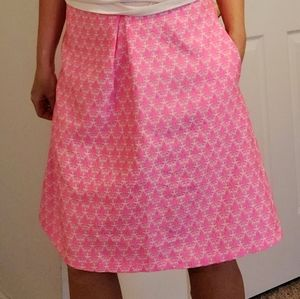 Just Me Pink White Floral Pleated Midi Skirt